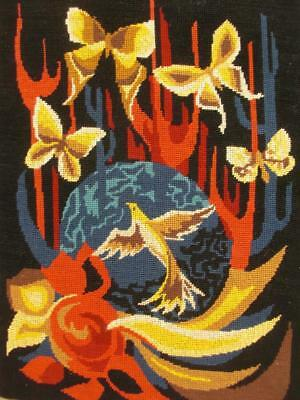 """vintage needlepoint Humming bird and butterfly completed tapestry 20""""x14.3"""""""