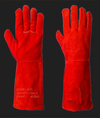 Welding Red Leather Gloves Welders Gauntlets Heat Resistant Stitches