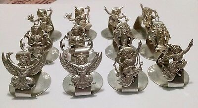 Set of 12 Vintage Sterling Silver Thai Goddesses Deities Place Card Holders