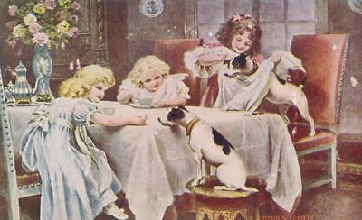 Old Postcard PC 2 Smooth Fox Terrier Dogs & 3 Little Girls Birthday Party c1908