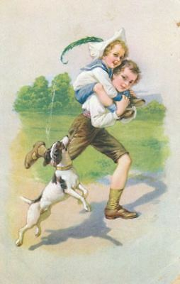 Rare Old Postcard PC Smooth Jack Russell / Fox Terrier Dog Dresden Germany c1910