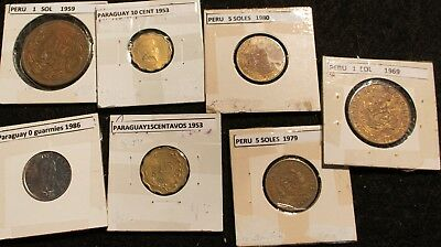 Paraguay and Peru Collection of 7 coins