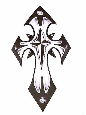 Black Gothic Tribal Cross Temporary Tattoo    Ty0262