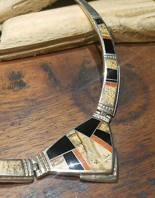 Statement Cuff Necklace Inlay Sterling Silver Stone Native American Red .925