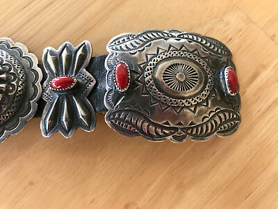 Navajo 1970's Coral Concho Belt with Sterling Silver Conchos and Butterflies