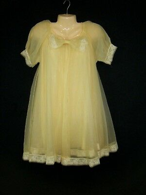 Vintage 60's 2 piece Yellow Peignoir Negligee Nighty Sheer Chiffon Transluscent