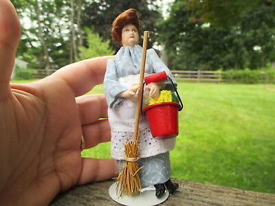 Dollhouse Miniatures ~ Elizabeth Staryk ~ Porcelain Doll As Cleaning Lady ~ Maid