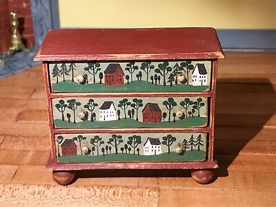 Dollhouse Miniatures ~ Aged Rustic Hand Painted Sideboard ~ Bearly Big Enough