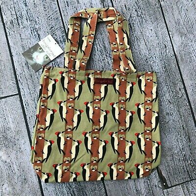 Bungalow 360  Reversible Tote Bag Woodpecker Vegan Cotton Canvas Green Brown New