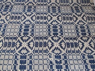 """Antique Jacquard 19TH c. Coverlet Blue and White  78""""X 55"""" As Is on one end"""