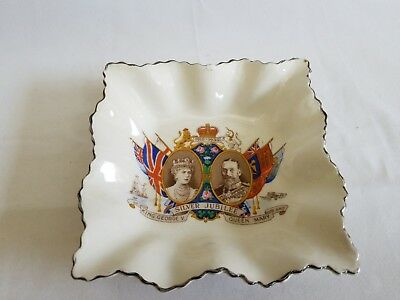 Rare Silver Jubilee King George V & Queen Mary Square Porcelain Plate1910-1935