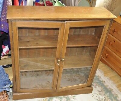 Vintage Dark Pine Bookcase With Glass Fronted Doors Lockable And Original Key