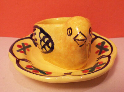 Quimper CHICKEN Vintage Egg Cup 2 Available EXCELLENT French Chick Yellow Red