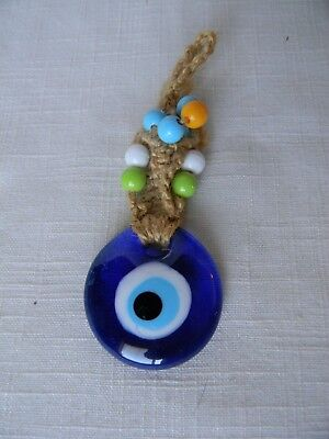 Macrame Turkish Evil Eye Keychain or Wall hanging. Blue w/Plastic Beads