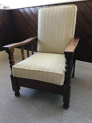 Antique Vintage Wooden Reclining Armchair with new seat & back cushions