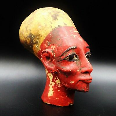 Stunning Large Antique Egyptian Queen Nefertiti Mask Bust Figure