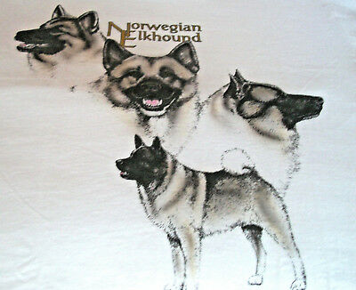 "Norwegian Elkhound T-shirt  "" White "" Small ( 34 - 36 )"