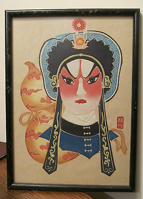vintage chinese original cut out paper opera mask portrait painting signed face.