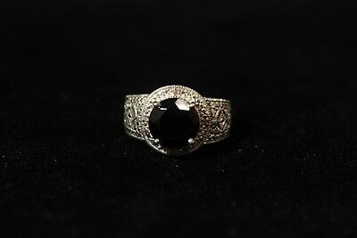 Fancy Sterling Silver Ring with Beautiful Black Stone Size 8