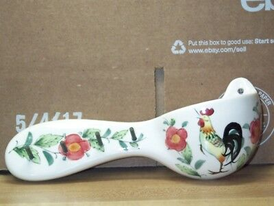 """Vintage Lefton Wall Pocket Rooster Flowers Rings Things Porcelain 3"""" Tall 7 3/4"""""""