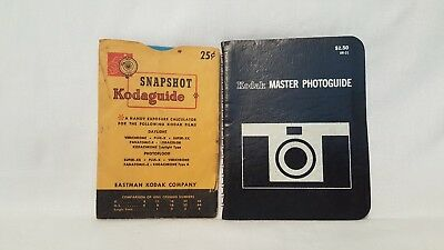 Set of 2 Vintage Kodak Master Photoguide Kodaguide Pocket Size Booklet Charts