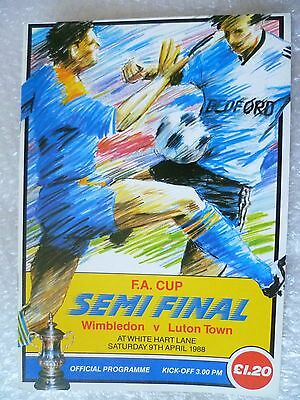1988 FA Cup Semi FINAL Programme- Wimbledon v Luton Town, 9th April