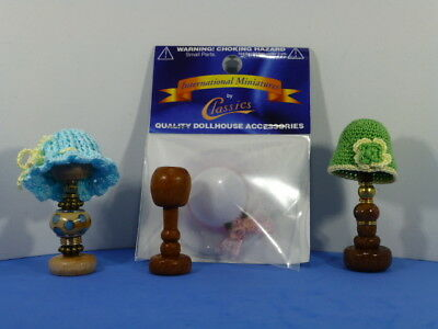 6 Piece Lot Dollhouse Miniature Hats with Stands -OOAK by Sara D.
