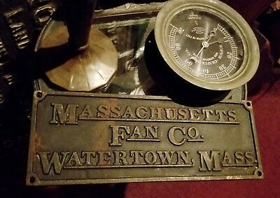 1910's Massachusetts Fan Company Watertown Ma Antique Iron Art Nouveau Plaque