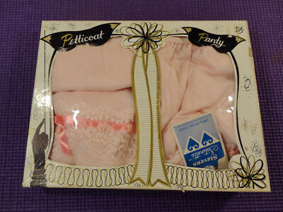 New Old Stock Vintage Stevens Petticoat & Panty Set With Tags Pink Lace Ribbon