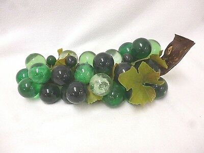 Vtg Retro Mid-Century Green Hues Lucite Acrylic Grapes Cluster Wood Stem 14 1/2""
