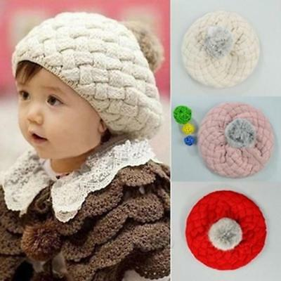 BS Newborn Baby Girl Infant Toddler Crochet Knit Pom Soft Beanie Kawaii Cap Hat