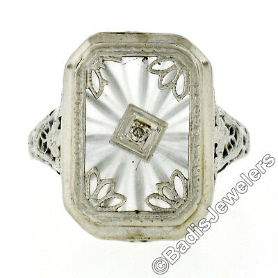 Antique Art Deco 14K White Gold Camphor Glass Diamond Etched Open Filigree Ring