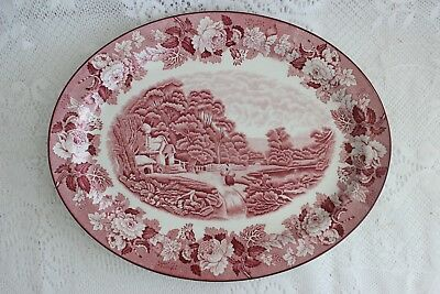 Vintage Large Enoch Woods Red & White Transfer Ware Platter English Scenery