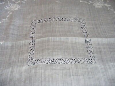 Vintage 1920S Tablecloth Irish Linen Needle Lace Work Bridge Cloth White Scarf