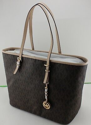 New Authentic Michael Kors Brown Jet Set Travel Md Tote Signature Womens  Handbag 684a78216a