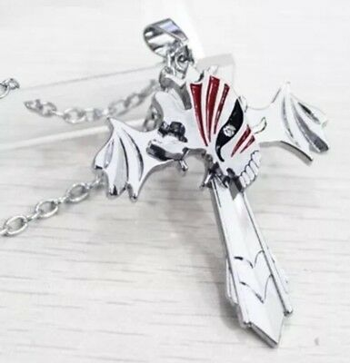 "Bleach Anime Cross Necklace Silver 2"" Cosplay Costume US Seller"
