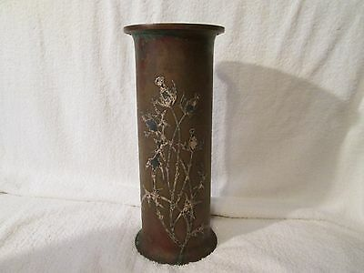 ANTIQUE EARLY 1902 Arts & Crafts Copper Silver Overlay OTTO HEINTZ LARGE VASE