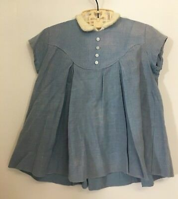 Vintage Girl's Toddler Blue Flare Dress w Sweater Like Collar White Buttons
