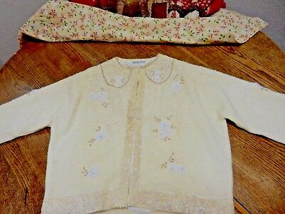 Vintage 50's NELSON CHAN ARTS & CO BEADED CARDIGAN Pearls/Sequins  Free Shipping
