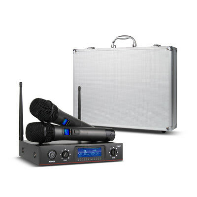 Portable Wireless Microphone System UHF 2 Cordless Handheld Dynamic Mic w/ case