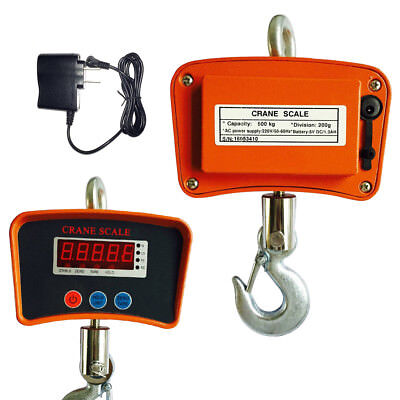 1100LBS/ 500Kg Digital Crane Hanging Scale Heavy Duty Industrial W/LED Display