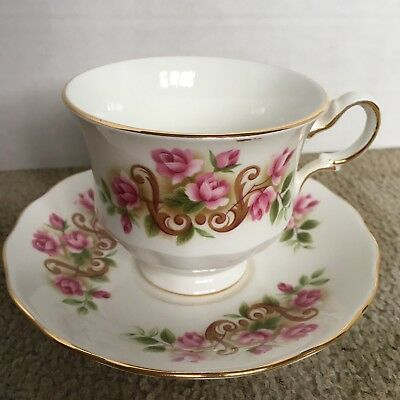 Queen Anne Tea Cup And Saucer Plate Pink Floral