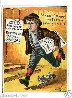 Victorian Trade Card SPICERS & PECKHAM STOVE FOUNDERS Newsboy w dog Providence
