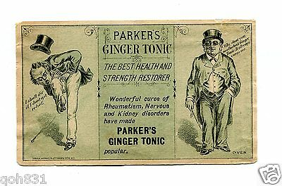 Victorian Trade Card PARKERS GINGER TONIC Health Restorer tonic remedy green