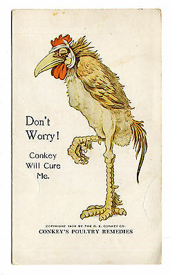 Victorian Trade Card CONKEY POULTRY REMEDY Sick Rooster price list