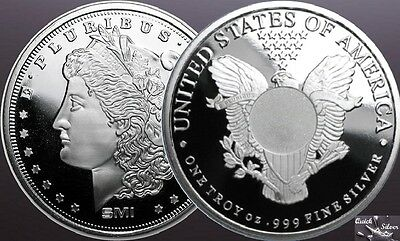 Lot of 2-1 oz Silver Rounds: SMI Liberty & Morgan *.999 fine & with MintMark SI*