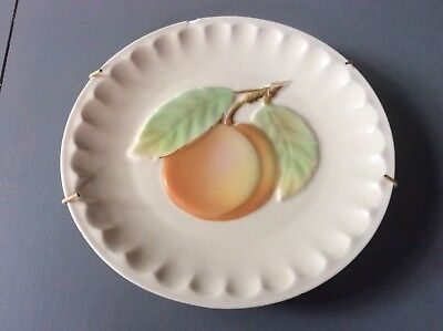 Vintage Fruit Plate Porcelain Wall Hanging Peach Apricot 1930's Czechoslovakia