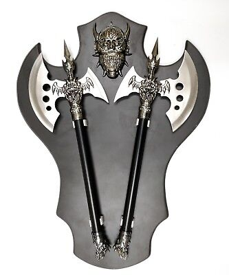 Dual Fantasy Skull Axes with Free Display Plaque
