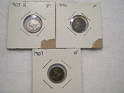 Canada 5 Cents - 1903-H (VF+) 1906 (VF) 1907 (VF) Sterling Silver 3 Coin LOT
