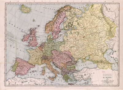 116557 MAP ANTIQUE McNALLY 1912 EUROPE OLD HISTORIC Decor WALL PRINT POSTER DE